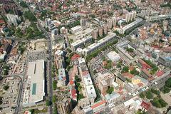Aerophoto of Skopje Macedonia. Areal view of Skopje down town from a helicopter Royalty Free Stock Photo