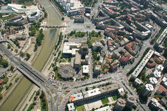 Aerophoto of Skopje Macedonia. Areal view of Skopje down town from a helicopter Stock Photography