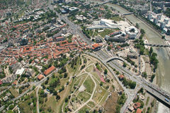 Aerophoto of Skopje Macedonia. Areal view of Skopje down town from a helicopter Royalty Free Stock Images