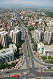 Aerophoto of Skopje Macedonia. Areal view of Skopje down town from a helicopter Royalty Free Stock Photos