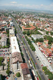 Aerophoto of Skopje Macedonia. Areal view of Skopje down town from a helicopter Royalty Free Stock Image