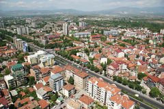 Aerophoto of Skopje Macedonia. Areal view of Skopje down town from a helicopter Stock Images