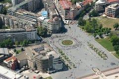 Aerophoto van een Skopje Macedoni Stock Afbeelding