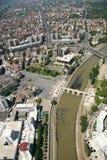 Aerophoto van een Skopje Macedoni royalty-vrije stock afbeeldingen