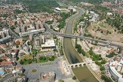 Aerophoto van Skopje Macedonië Royalty-vrije Stock Foto