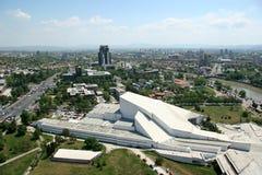 Aerophoto van Skopje Macedonië Stock Foto's