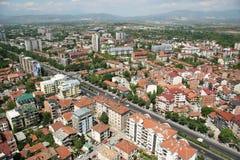 Aerophoto van Skopje Macedonië stock afbeeldingen
