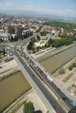 Aerophoto von Skopje Makedonien Stockfotografie