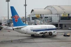 Aeroplae in de Hoofd Internationale Luchthaven van Peking stock afbeelding