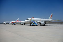 Aeroplae in  Turpan Airport Stock Images