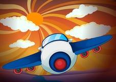 Aeroplan and sun rays Stock Photos