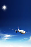 Aeroplane. In the blue sky royalty free stock images