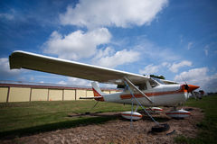 Aeroplane. Small plane against a blue sky Stock Image