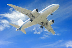 Aeroplane. On blue sky background