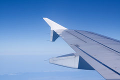 Aeroplane. Airplane wing during flight with text space Royalty Free Stock Photo