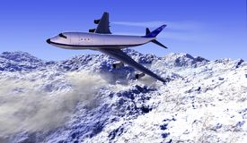Aeroplane. Scene of the aeroplane on mountain  executed in 3D Royalty Free Stock Images