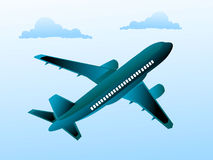 Aeroplane. In cloudy sky with abstract background stock illustration