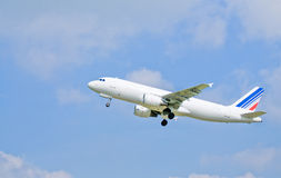 Aeroplane. A passenger aeroplane just taking off royalty free stock image