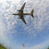 Aeroplane. In fisheye stock image