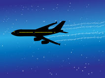 Aeroplane. Vector illustration of aeroplane in the air Stock Images