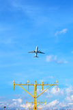 Aeroplane approach landing direction light Royalty Free Stock Images