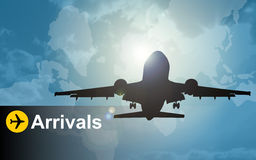 Aeroplane Arrivals. An abstract image of an aeroplane landing vector illustration
