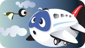 Aeroplane and bird Stock Photo