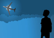 Aeroplane. On blue and cloudy sky vector illustration