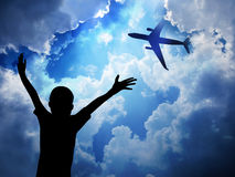 Aeroplane. On blue sky background Stock Photos