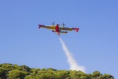 Aeroplane canadair water forest fire Royalty Free Stock Image
