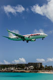 Aeroplane Caribbean Airlines is landing Stock Images