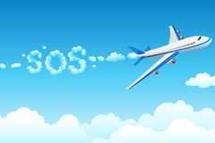Aeroplane with cloudy sos Royalty Free Stock Photo