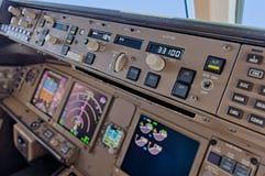 Aeroplane cockpit. Close up of mode control panel royalty free stock photo