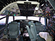 Aeroplane Cockpit. Dazzling, Sophisticated cockpit of a Boeing 747 Jet Royalty Free Stock Photo