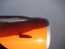 Aeroplane engine. Closeup shot of an aeroplane engine whilst in flight Royalty Free Stock Photo
