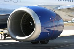 Aeroplane engine. Large aeroplane engine on a boeing Stock Images
