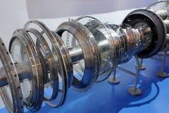 Aeroplane engine detail. Detailed exposure of a aeroplane engine stock images