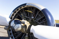 Aeroplane engine detail and propeller Royalty Free Stock Image
