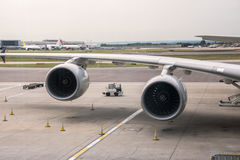 Aeroplane engines at airport Stock Photo