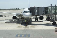 An aeroplane getting ready for takeoff Royalty Free Stock Image