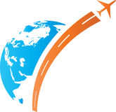 Aeroplane with globe. Has been created as vector Stock Image