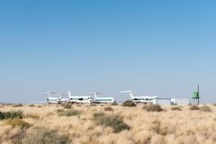 Aeroplane graveyard at the Upington International Airport. UPINGTON, SOUTH AFRICA - JULY 6, 2017: An aeroplane graveyard at the Upington International Airport in royalty free stock photos