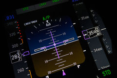 Aeroplane instruments closeup. A close up of the primary flight display stock images