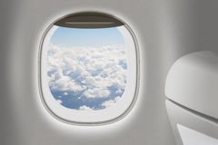 Aeroplane or jet interior with window and chair Stock Image