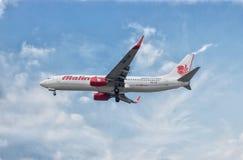 Aeroplane. KLIA , Kuala Lumpur - 30th April 2017 ; Malindo air airlines landing approach Royalty Free Stock Images