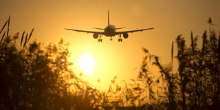 Aeroplane landing Stock Photography