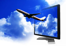 Aeroplane from LCD screen. A plane fly from computer LCD screen stock photo