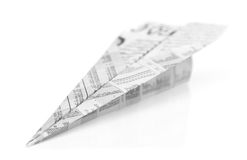 Aeroplane origami from newspaper isolated. On white background royalty free stock image