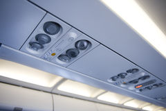 Aeroplane overhead console Royalty Free Stock Photos
