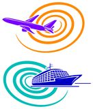 Aeroplane and passenger ship. Isolated line art icon designs Royalty Free Stock Photography